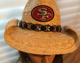 49er's Hat, SF Hat, Cowboy Hat, Tan Cowboy Hats, Rhinestone Hat, Bling Hats,  Womens Hats, Bling Hat, Cowboy Hats