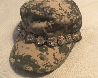 Cadet Hat, Military Hat, Camouflage Cadet Hat, Bling Hat, Camo Hat, Bling Hat,  Womens Hast, Camo Cadet, Bling Hat, Beach Hats