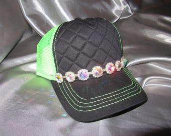 Hats, Lime Green Trucker Hat, Bling Trucker Hat, Womens Hat, Bling Trucker Hat, Trucker Hat Bright Green Hats