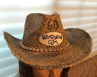 60th Birthday Hats, Western Hats, Cowgirl Hats, Cowboy Hats, Cowboy Hat, Rhinestone Hat, Bling Hat,  Womens Hat, Bling Hat, Cowboy Hat