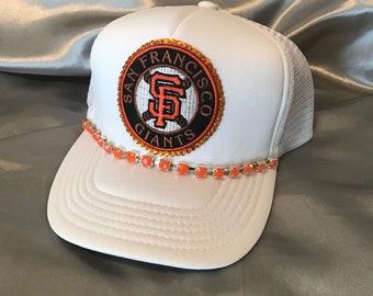 Giants Hats,Trucker Hat, Giants Hat, SF Giants Bling Hat, White Hats, Womens Hat, Sworovski Crystal Hat, Giants Logo Hat