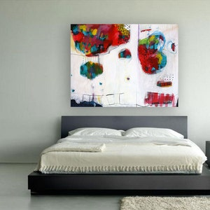 large print ideal as a gift for moving blue free shipping red and white gicl\u00e9e print of painting BLUE MORNING DREAM office birthdays