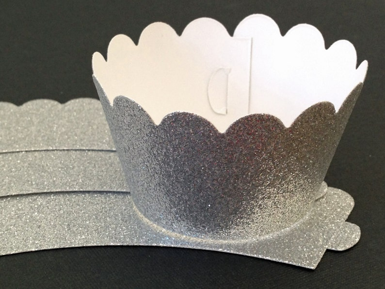 Glitter cupcake wrappers  elegant silver  Choose your cut image 0