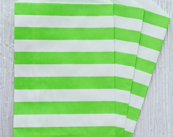 "Trendy green horizontal stripes party favor paper bags 5 x 7.5"" - Set of 20"