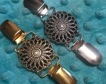 6a0878d2e75267 Medallion cinch clip ~ silver Carly dress clip ~ Bronze tunic fit clip ~  sweater guard ~ cardigan clip ~shawl accessory ~ poncho/bolaro clip