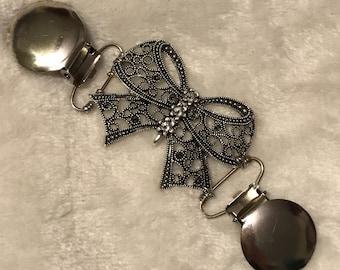 Bow cinch clip ~ silver Lularoe Carly dress clip ~ Bronze tunic clasp ~ sweater guard ~ joy cardigan clamp ~ Agnes& Dora fit clip ~ kimono