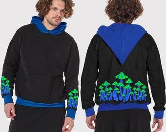 77eacafd6a96c Mens hoodie with vinyl print MUSHROOM FAMILY-neon print-Handmade-Elf hoodie  -hippy hoodie-Psy clothing-psychedelic clothing-Festival Wear
