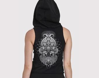 XS-XXL top tanktop croptop black cutouts cut out goa pixie psy burning woven yoga lacing elfe fee geometric tattoo pattern hooping nymph