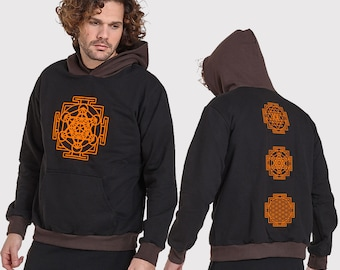 Mens hoodie with print -Sacred Geometry Mandalas-psy clothing-festival-Festival Wear-psychedelic clothing-handmade-Burning Man
