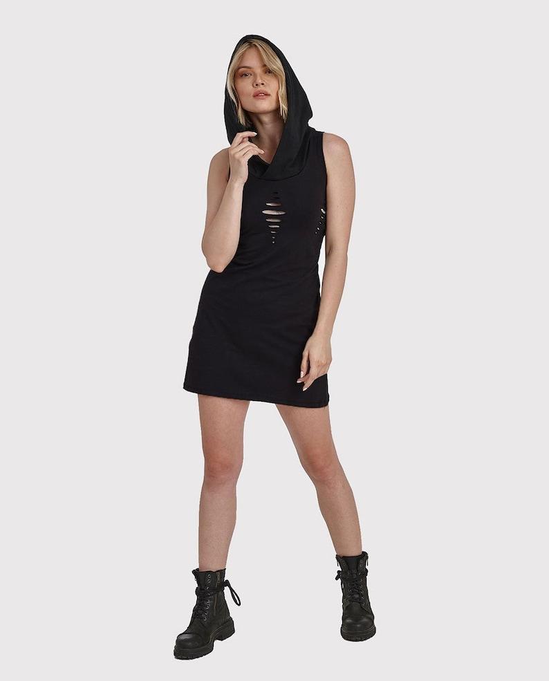 Hooded Cut Dress SpiralRavePunkStreetwearcutoutdresspsy clothingAlterantive clothing