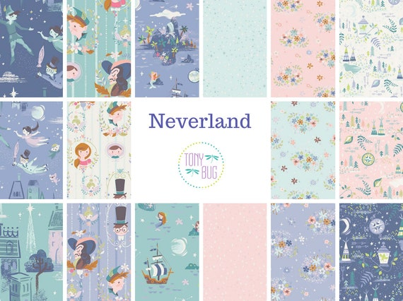 "Riley Blake /""Neverland/"" Peter Pan//Tinkerbell 100/% Coton Fat Quarter Quilting"
