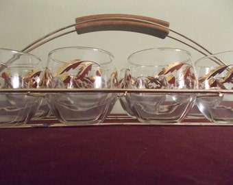 RESERVED - Gatorpoint -  Vintage Set of Eight Barware Glasses with Metal Carrier