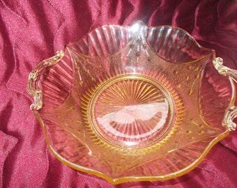 Elegant Yellow Glass Handled Bowl (1542)