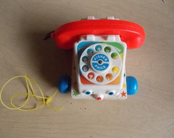 "Vintage Fisher Price ""Chatter box"" Phone Pull Toy (1115)"