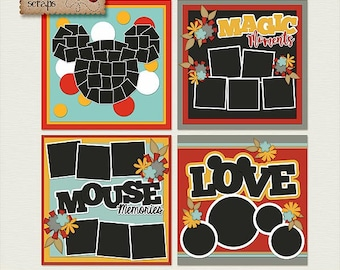 Love That Mouse 12x12 Templates {High Quality Digital Scrapbooking Templates} Vacation Themed ** INSTANT DOWNLOAD