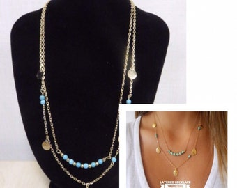 Layered Necklace | Turquoise beads and sequins | Lilly Rose