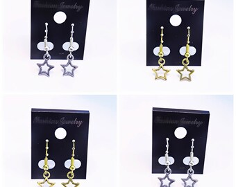 Silver and Gold Star Dangle Earrings | Lilly Rose