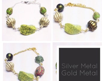 Mixed Bead Bracelet | Green/forest | By Lilly Rose