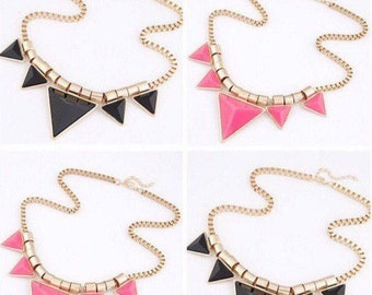 Geometric Necklace in Pink and Black | Lilly Rose