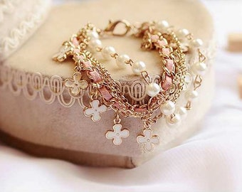 Pearl/Clover Bracelet | Rope Bracelet | Lilly Rose