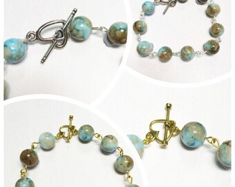 Beaded Link bracelet | Heart Clasp | Mint & Brown Glass Beads | By Lilly Rose