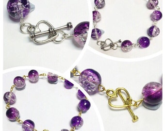 Beaded Link bracelet | Heart Clasp | Purple & Clear beads | By Lilly Rose