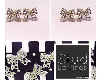 Diamonte Bow | Stud Earrings | Lilly Rose