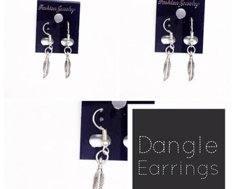 Festival Feather Dangle Earrings | Silver Tibetan Feathers | Lilly Rose