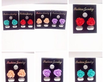 Rose Stud Earrings | Rose (Green, Red, Peach, Purple) | Lilly Rose