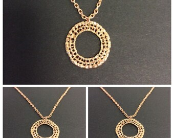 """Hammered Ring 18 """" Necklace 