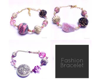 Mixed bead bracelet | Rose/Pink Beads | By Lilly Rose