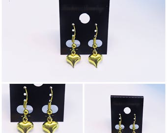 Danity Gold Heart | Dangle Earrings | Gold Heart | Lilly Rose