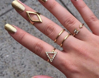 Stacking Geometric Rings | Silver and gold | Midi Rings | by Lilly Rose
