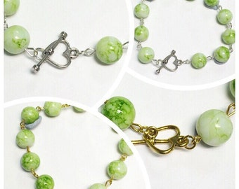 Beaded Link Bracelet | Heart Clasp | Lime Green Glass beads | By Lilly Rose