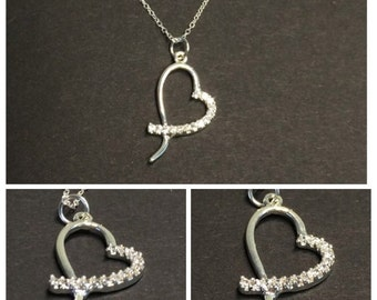 """Cubic Zirconia Heart 18"""" necklace 