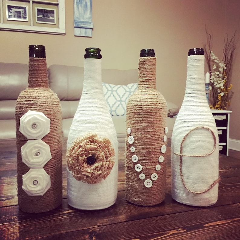 Twine LOVE Wine Bottles upcycled wine bottles country rustic image 1