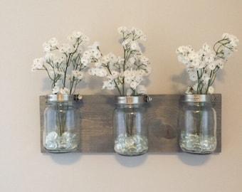 Mason jar organizer, vases, bathroom storage, wall mount mason jar, housewarming gift, bathroom decor, bathroom organizer, mason jar decor