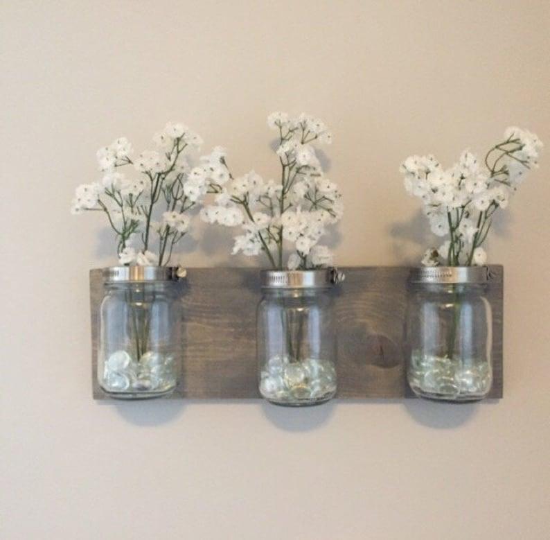 Mason jar organizer vases bathroom storage wall mount mason image 0