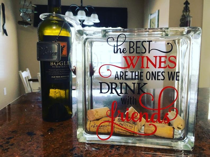 Wine cork storage wine cork holder glass block wine cork image 0