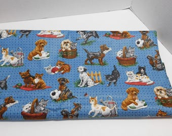 """Dogs and Cats Blue Checkered Fabric 4+ Yards Cranston 45"""" wide"""