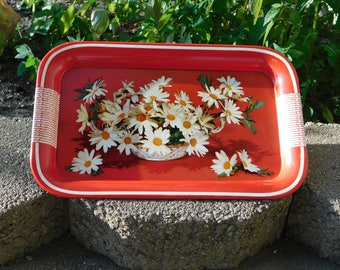 Vintage Tin Tray Red with White Daisies
