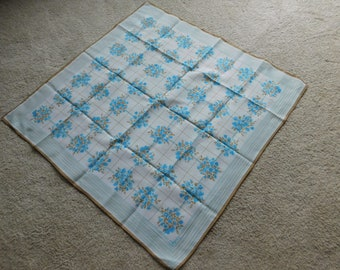 Vintage Vera Scarf Polyester Blue White and Tan Flowers
