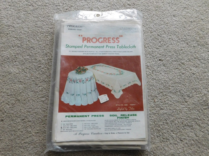 Stamped Embroidery Cross Stitch Tablecloth Oblong Poppy by Progress