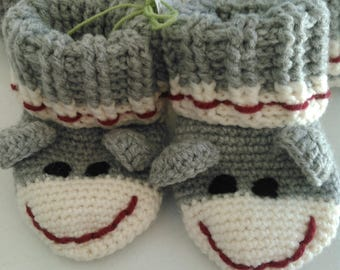 Sock Monkey Booties, ready to ship, 0-6 months