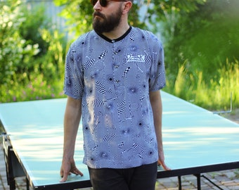 90's Optical Illusion Shirt / Vintage Trippy Men's Sport Top, Black & White Cycling Jersey / Festival, Acid, Rave, Abstract Pattern - M