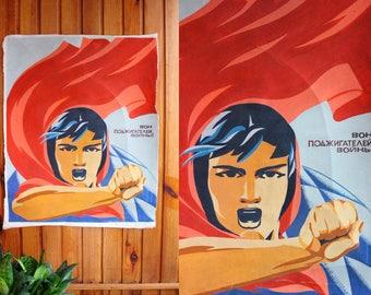 1960's USSR Painting / Warmongers Out! ORIGINAL Soviet Gouache on Canvas 41,3''x 25,6'' Artwork | Socialist Realism, Poster Wall Art