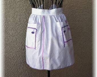 LAVENDER PINSTRIPE APRON - Size 12 and under