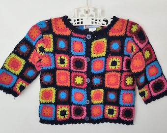 Crochet Granny Square Sweater Cardigan Vintage 2T Black Colorful Boho Baby