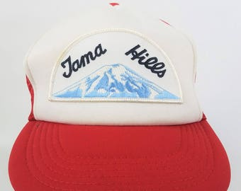 29a75641de7c1 Tama Hills Tokyo Vintage Snapback Trucker Hat Patch Golf Course Club Red  White