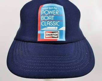 03da912ac3dee Vintage Champion Power Boat Classic Trucker Hat Baseball Cap Spark Plug